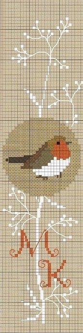 Bird cross stitch. No color key.