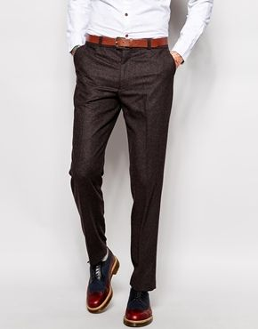 Enlarge Farah Trousers in Brown Herringbone