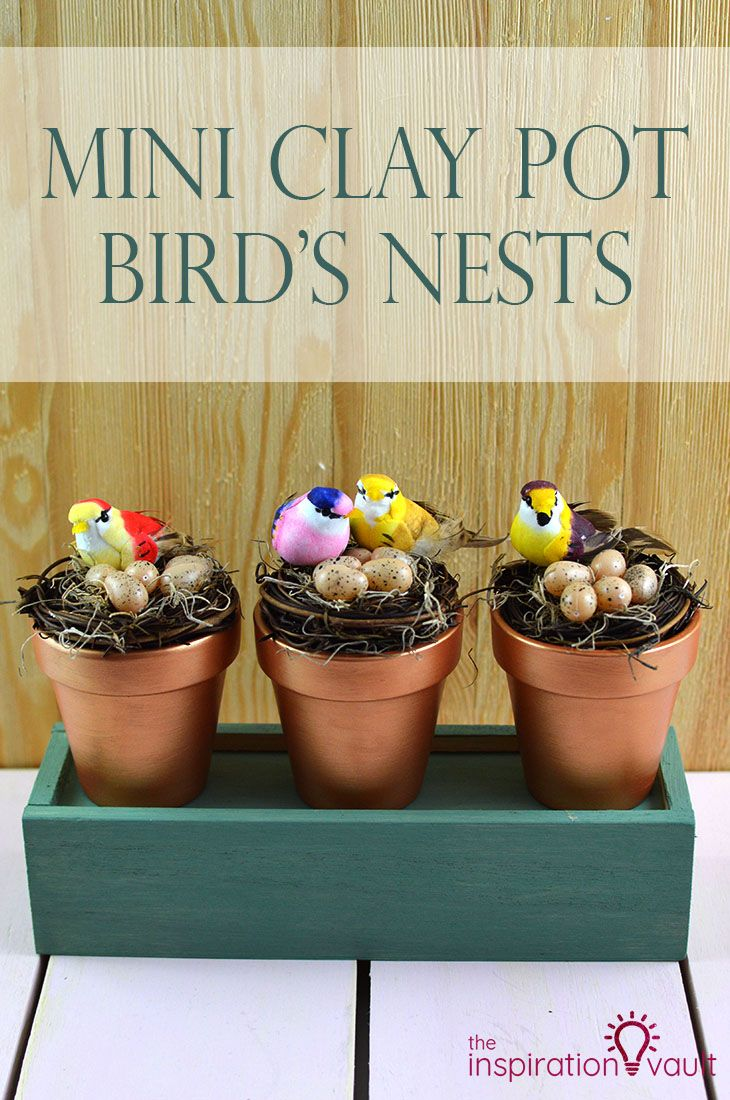 Mini Clay Pot Bird S Nests Diy Spring Craft Tutorial Mini Clay Pot Crafts Clay Pot Crafts Terra Cotta Pot Crafts