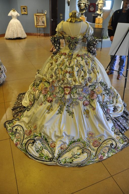 """Ballgown created by Linda Leyendecker Gutierrez and Niti Volpe for the Society of Martha Washington Colonial Pageant and Ball in Laredo, TX. Mislabeled as """"18th century ballgowns"""". The Citadelle"""