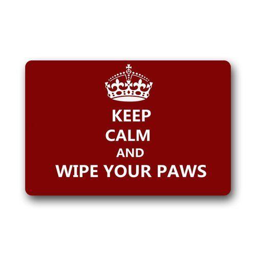 """Custom Machine-washable Door Mat Keep Calm and Wipe Your Paws Indoor/Outdoor Doormat 23.6""""(L) x 15.7""""(W)"""