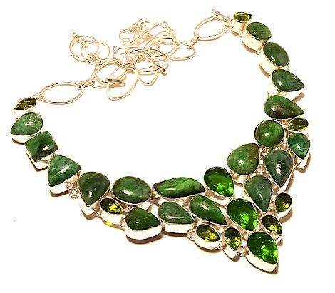 925 Sterling Silver Green Chrysoprase Genuine Gemstone and Peridot and Forest Green Crystals Christmas Statement Bib Necklace!!! by Ameogem on Etsy