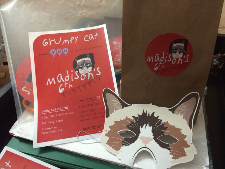 A certain little girl is obsessed with Grumpy Cat - so I designed her entire theme (again) ...the mask was a template off etsy.com