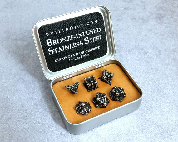 Stainless Steel Dice Metal Gaming Set by Butler's Specialty Dice d20 d12 d10 d8 d6 d4