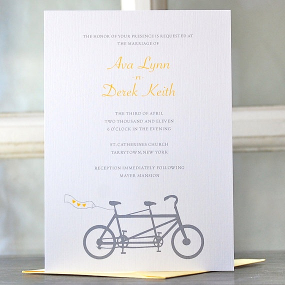 Wedding Invitations/ Bicycle Wedding by SweetBellaStationery, $5.00