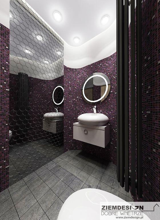Łazienka Glamour z mozaiką fioletową z grafiką na lustrze