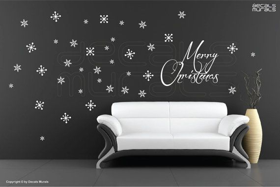 Holidays Christmas interior decor by Decals Murals. I like the idea of using wall decals as decoration as they  transform a room immediately. They are not hard to put up and even easier to take down.