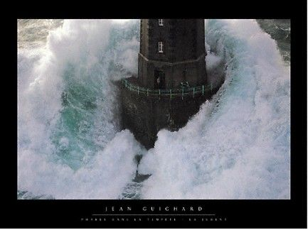 """Been hanging on my wall for many years!     """"But mightier than the violent raging of the seas, mightier than the breakers on the shore—         the LORD above is mightier than these! Your royal laws cannot be changed.  Your reign, O LORD, is holy forever and ever."""" (Ps 93:3–5).: A Mini-Saia Jeans, Lights House, La Jument, And He, Phare Dan, Art Prints, Jeans Guichard, Photo, The Waves"""