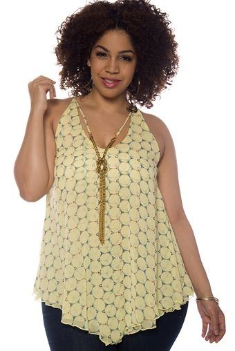 Round of Applause Plus Size Circle Print Chiffon Tank Top - Yellow from Zenobia at Lucky 21