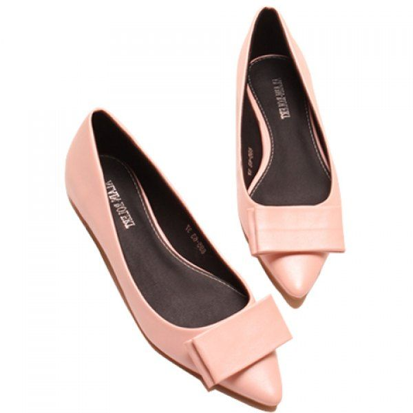 Trendy Pointed Toe and Bow Design Solid Color Women's Flat Shoes, PINK, 38  in