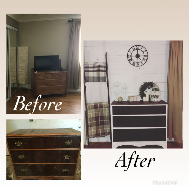 Master bedroom Reno with chalk paint, recycled dresser and shiplap wall