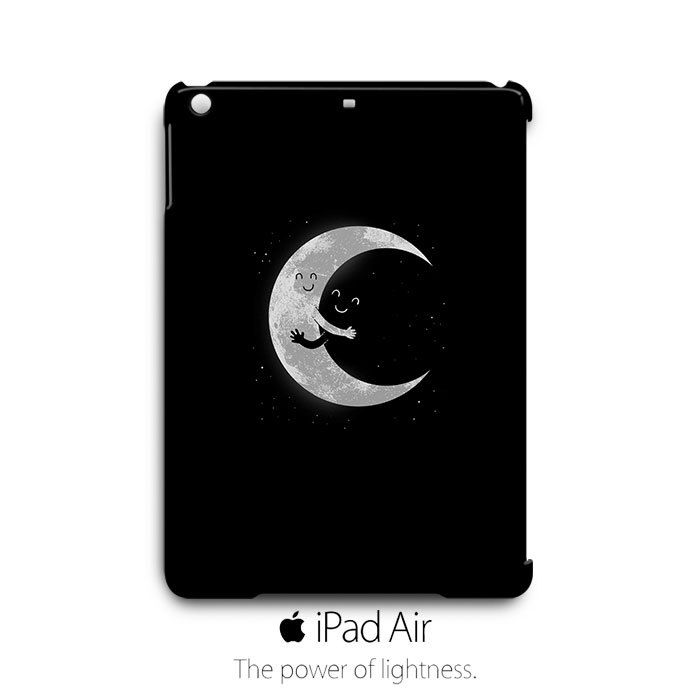 Cute Moon Hug Black iPad Air Case Cover Wrap Around