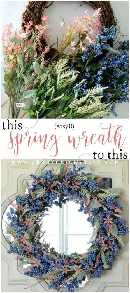 SOOO Simple & EASY Spring Wreath! #springwreath #easyspringwreath #diyspringwreath artsychicksrule.com