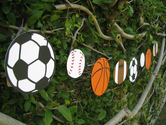 Sports Ball Garland Bunting MADE TO ORDER by mypaperpantry $18.00 & 48 best Birthdays images on Pinterest | Birthdays Parties kids and ...