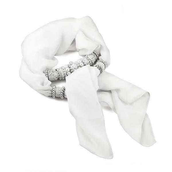 Šála s bižuterií Víla 396vil001-01 - bílá - Bijoux Me! - bižuterie, šály a šátky