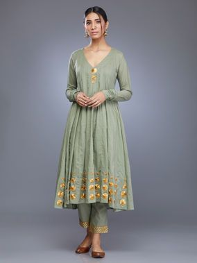 289f82eb4a Olive Green Cotton Mul Anarkali Kurta with Pants - Set of 2