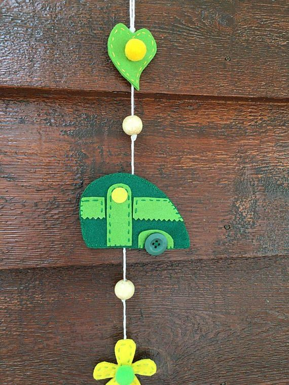 Vintage caravan wall door hanging felt craft gift vintage