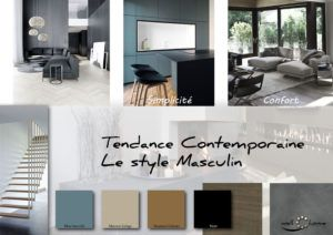 Moodboard - Déco, planche d'ambiance, tendance contemporaine, style masculin, réalisation well-c-home