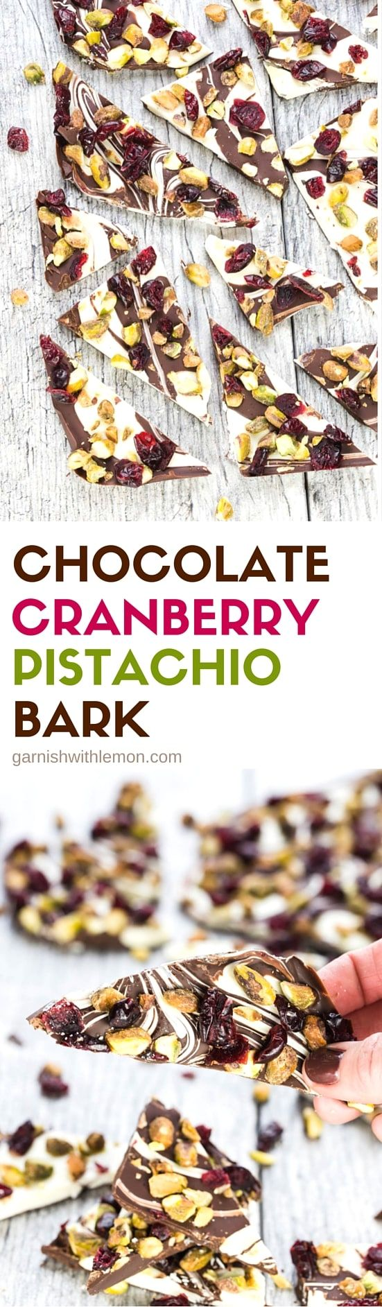 How can you go wrong with a 4 ingredient holiday sweet? Not only is this Chocolate Cranberry Pistachio Bark delicious, it takes just a few minutes to pull together.