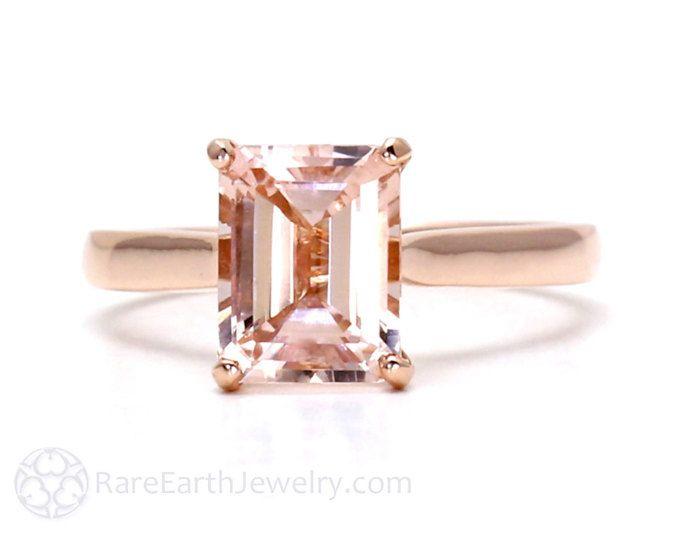 Morganita anillo 14K oro rosa Esmeralda corte puro anillo solitario piedra preciosa anillo 14K blanco amarillo oro rosa