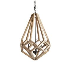 "Wooden Prism 22"" Chandelier With Wrought Iron Candelabra"