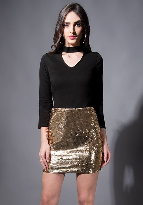 Rose Gold Sequin Bodycon Mini Skirt #Fashion #FabAlley #PartyWear #MiniSkirt #Skirt #Party #GoingOutAttire #GoingOutDresses