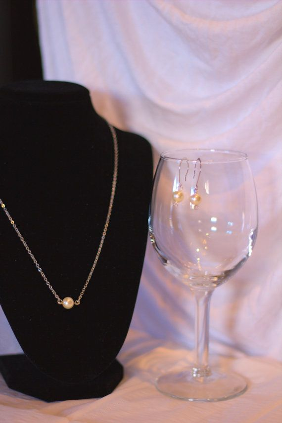 Pearl Glass Bead Earring and Necklace Set- Wedding Set on Etsy, $14.61 CAD