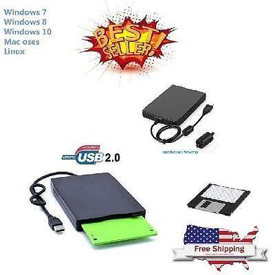 External Portable USB Floppy Disk Drive Reader Laptop Accessories 2x Plug