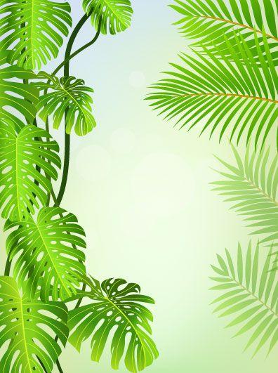 tropical Green leaf elements vector background 04 | Vector background