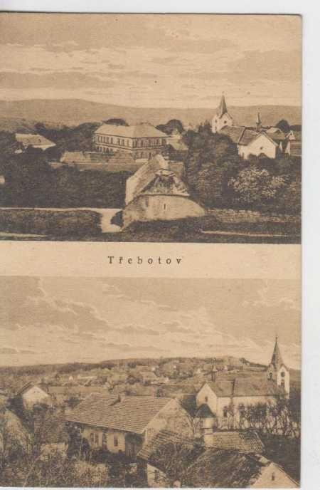 Třebotov, partie města, v pozadí kostel, dva záběr