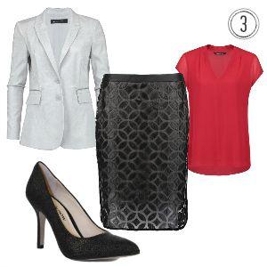 De chique outfit voor een diner of een werkoverleg. Door de rode kleur van de blouse wordt de aandacht naar boven getrokken en op het gezicht gevestigd.