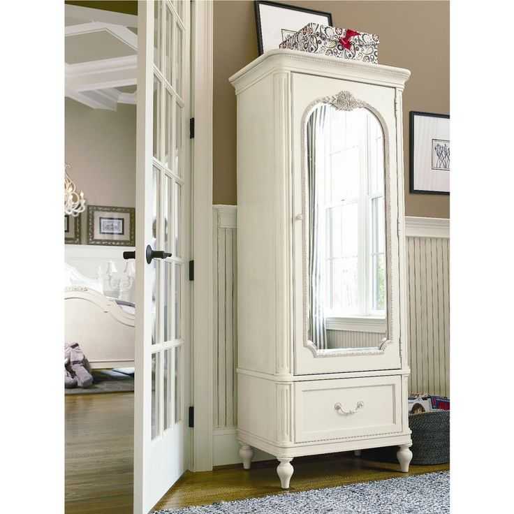 White Armoire Wardrobe With Full Length Mirror Bedroom Furniture For Teen  Girls