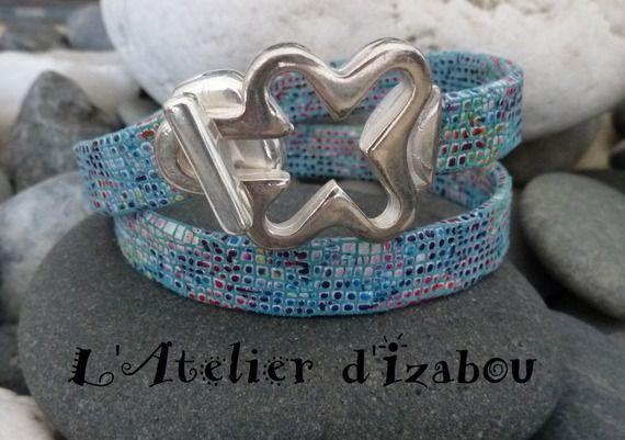 Bracelet mosaïque femme double tour cuir mosaïque bleu et multicolore, fermoir crochet croix