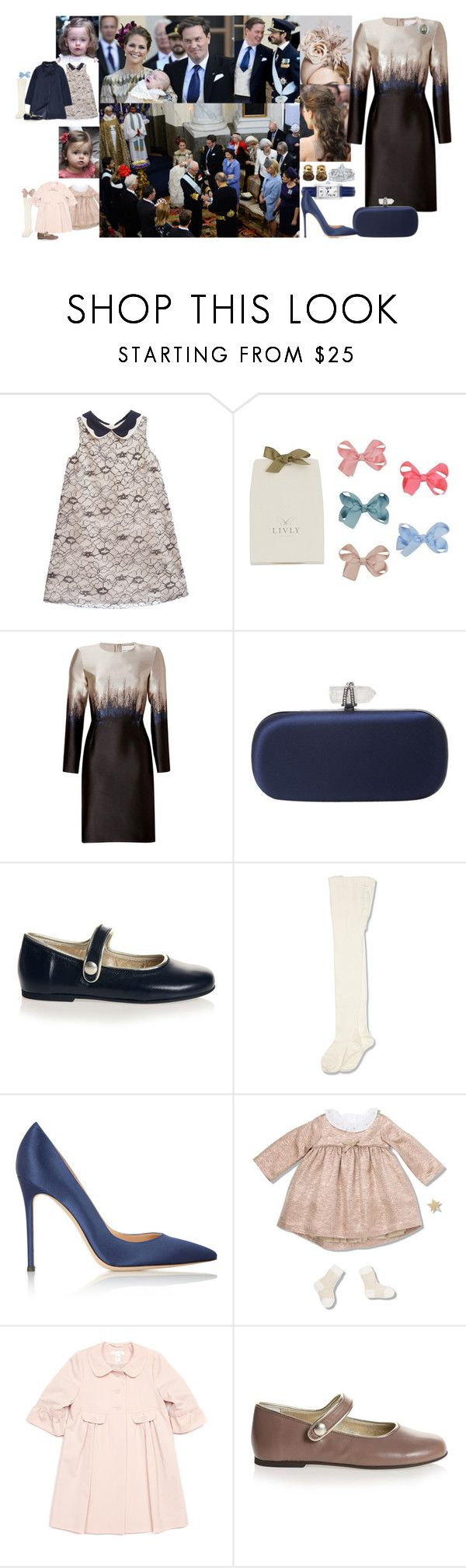 """""""Royalistas: Princess Louise of Sweden and Denmark Attends the Christening of Her Nephew-Prince Nicolas of Sweden- With Her Husband-Prince Carl-Philip of Sweden and Denmark- and Her Two Daughters"""" by louiseingrid-ofdenmark ❤ liked on Polyvore featuring Mary Katrantzou, Oscar de la Renta, Marchesa, Sarah Jessica Parker, Gianvito Rossi, Marie Chantal, Christina Addison, women's clothing, women's fashion and women"""