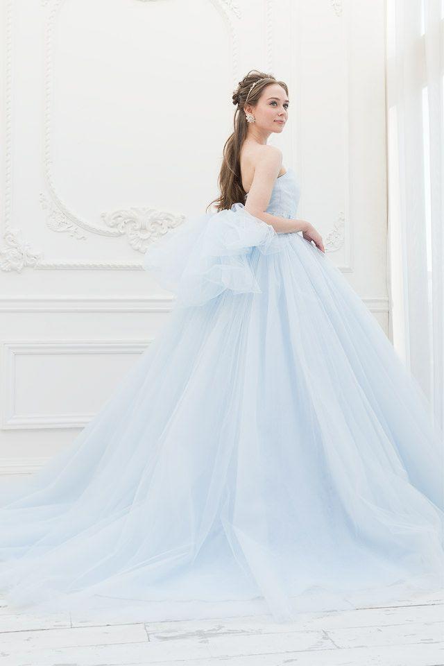 ブルーのエアリーなカラードレス。ビッグリボンも可愛い|SS5591LB