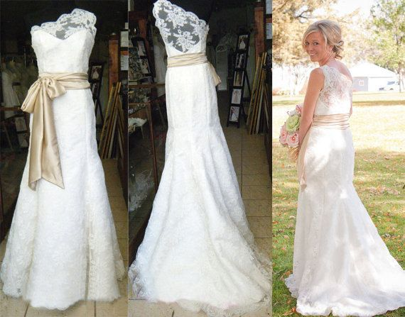 One Shoulder Wedding Dress Lace Gown Bridal With Sweep Train Custom On Etsy 234 99 Weddings Dresses