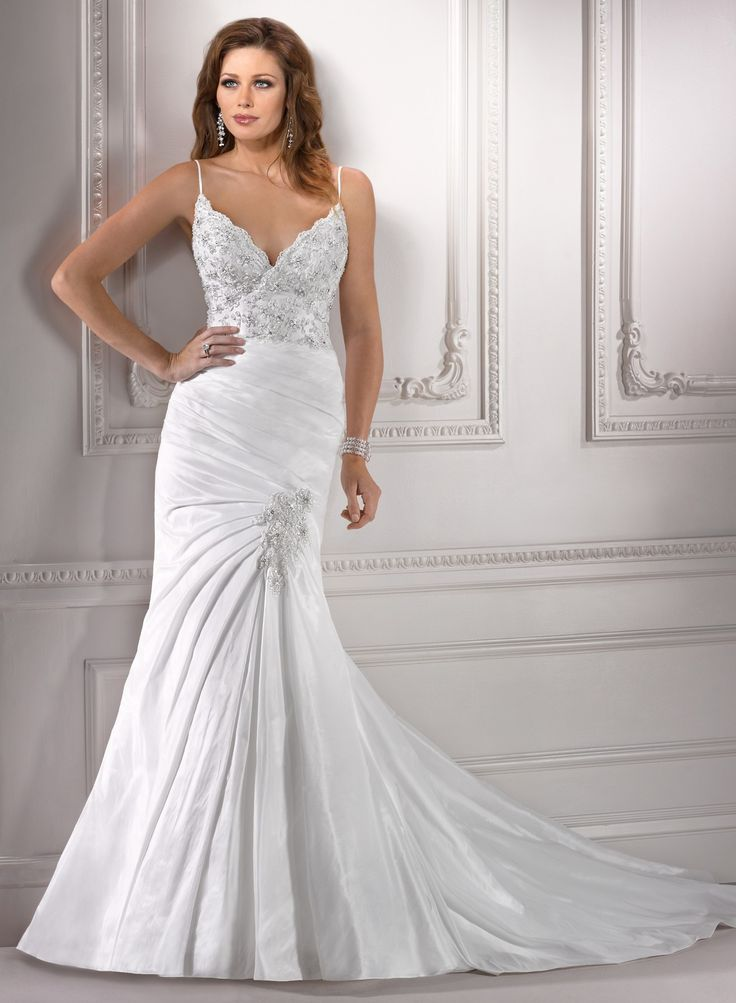 Elegant Fit-and-flared Straps Chapel Train Taffeta Wedding Dress with Beaded Appliques(WD0647)