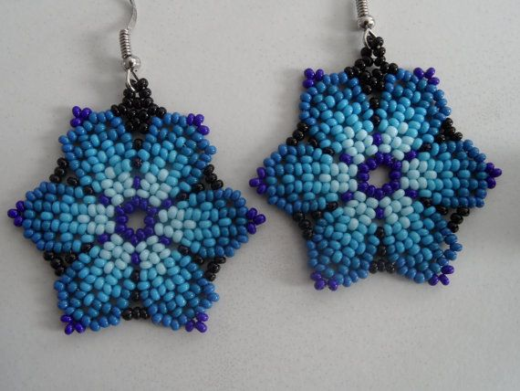 Huichol Seed Bead Earrings Flower Shades of Light Blue!  For sale on Etsy...