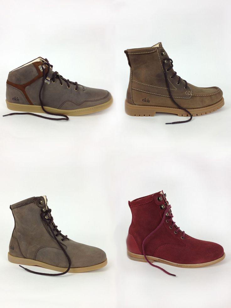 Die neuen Schuhe von ekn-footwear.  High Seed [brown leather / camel sole] Beech [brown leather / trekking sole] Desert High [brown leather / bruno sole] Desert High [burgund suede / leather sole]