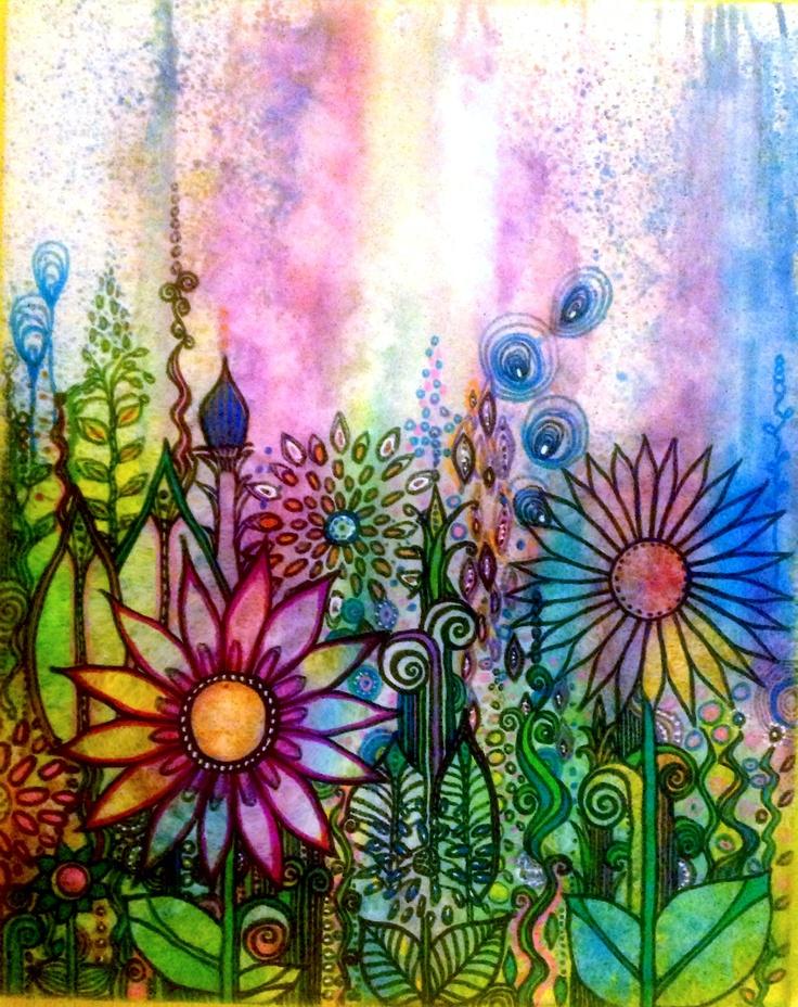 doodle canvas..awaiting birds..ink golden acrylic  paint , on 18 x 24 can robinmeaddesigns.com