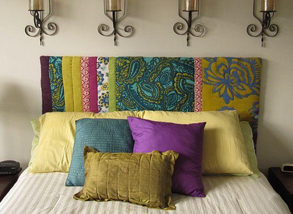 respaldo de cama con madera y goma espuma + diferentes telas estilo hindú .