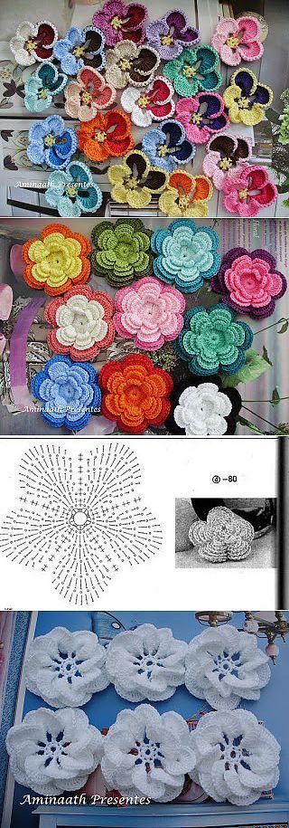 Романтические цветочки крючком.   вязанные цветы   Постила