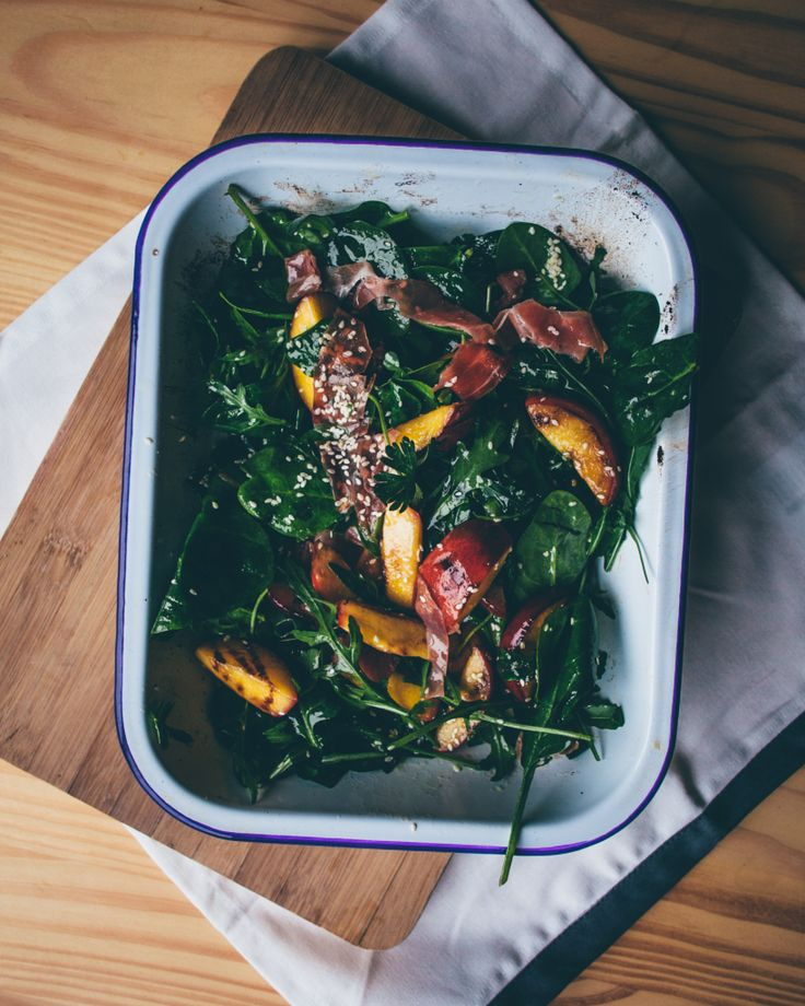 Grilled Nectarine and Parma Ham salad. Super healthy and tasty! See the recipe from Smashed Avocado blog.