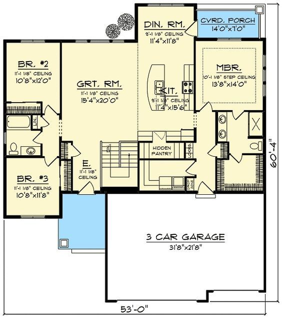 Plan 89987AH: Craftsman With Open Concept Floor Plan. Replace stairs with storage, half bath and or push laundry room over.