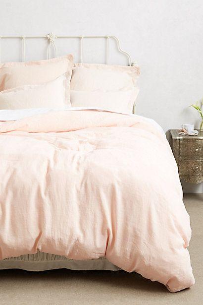 peach linen duvet (Anthropologie), for guest bedroom