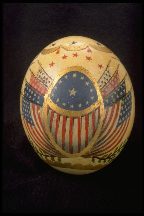 Paint-Decorated Ostrich Egg | 1991.961 -- Historic New England #HistoricNEJuly4 | Fourth of July