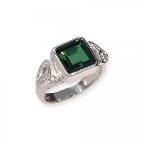 Anew Square Bezel Emerald Ring - Silver