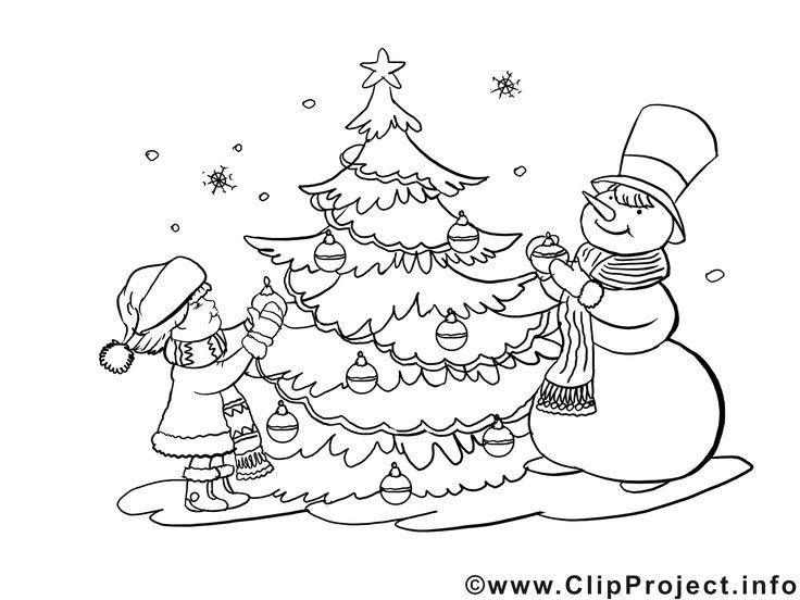 malvorlage advent mit weihnachtbaum kinder und schneemann