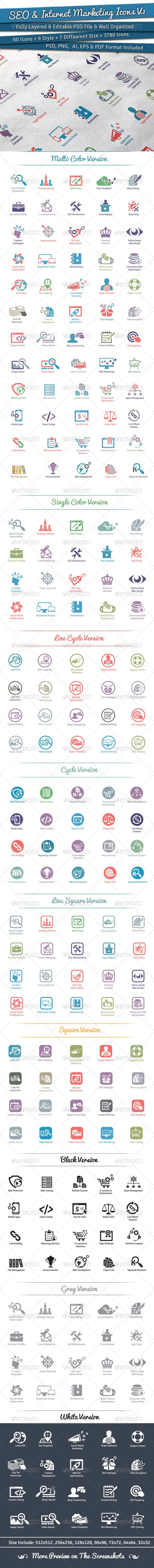 60 SEO Icons | Volume 1  #GraphicRiver         This Collection of 60 Awesome SEO & Internet Marketing Icons. For those more experienced cookies you can take the items further & add your own creative touch. They make fantastic Web signs, logos, stamps, badges. It is made by simple shapes Although looks very professional. Easy to modify, change colors, dimensions, get different combinations to suit the feel of your event.