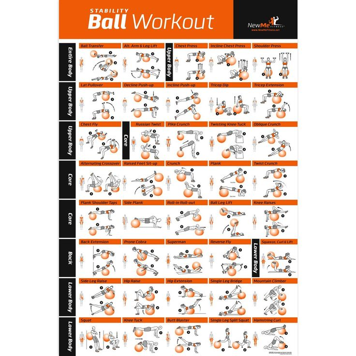 """Exercise Ball Poster - Total Body Workout - Your Personal Trainer Fitness Program - Swiss, Yoga, Balance & Stability Ball Home Gym Poster - Tone Your Core, Abs, Legs Gluts & Upper Body - Motivational Work Out Improves Your Training Routine - 20""""x30"""""""